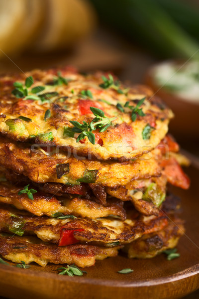 Zucchini and Bell Pepper Fritter Stock photo © ildi