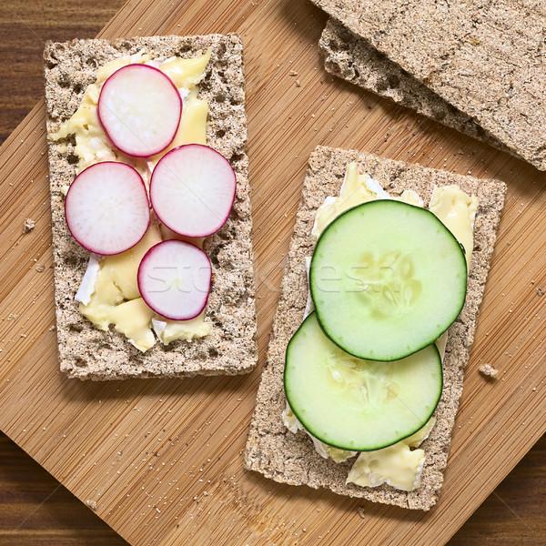 Wholemeal Rye Crispbread with Brie, Radish and Cucumber Stock photo © ildi