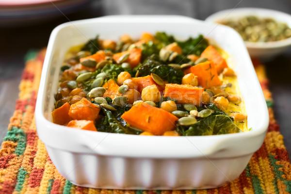 Pumpkin, Kale and Chickpea Casserole Stock photo © ildi