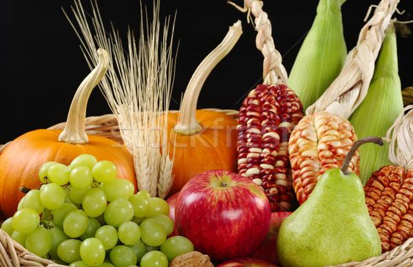 Foto stock: Outono · cesta · maçã · pereira · uvas · trigo