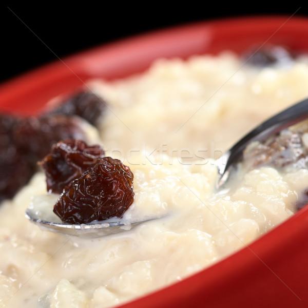 Sütlaç kuru üzüm kaşık seçici odak odak Stok fotoğraf © ildi