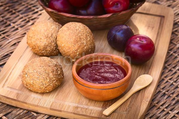 Plum Jam and Wholegrain Buns Stock photo © ildi