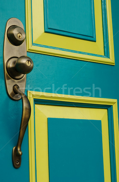 Türkiz ajtó ajtóküszöb fogantyú színes fém Stock fotó © ildi