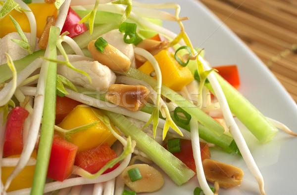 ストックフォト: 新鮮な · アジア · サラダ · 鶏 · マンゴー · キュウリ