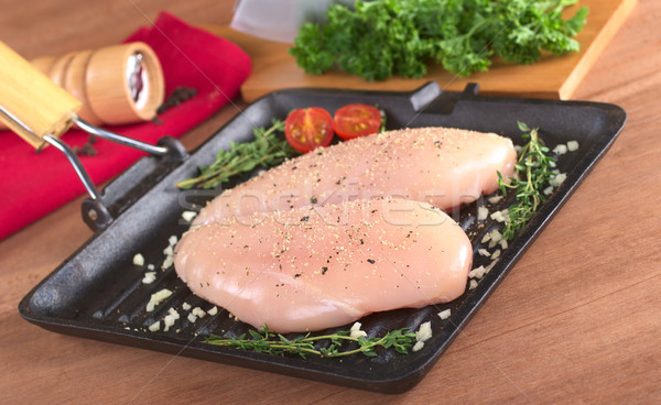 Raw Chicken Breast in Frying Pan   Stock photo © ildi
