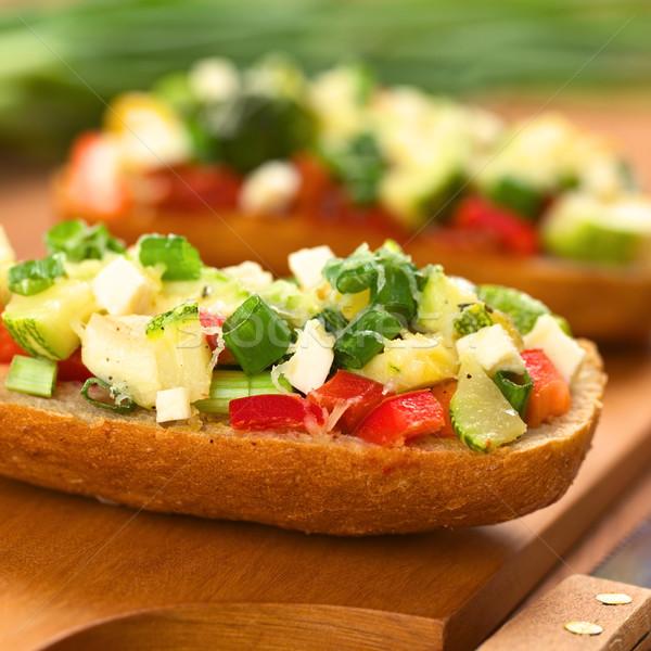 Baked Vegetarian Open Sandwich Stock photo © ildi