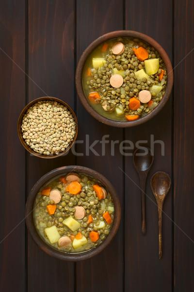 Soczewica zupa shot dwa rustykalny kręgle Zdjęcia stock © ildi