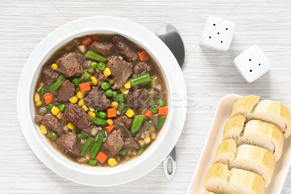 Marhapörkölt leves zöldségek színes nyár sárgarépa Stock fotó © ildi