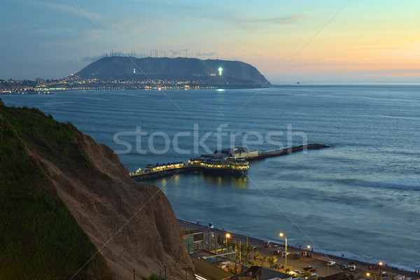 The Coastline of Lima, Peru at Twilight Stock photo © ildi