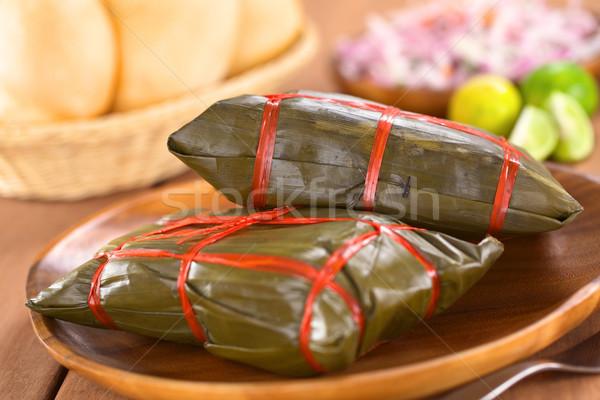 банан листьев приготовленный внутри мяса Перу Сток-фото © ildi