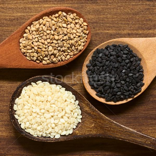 Black, White and Roasted Sesame Seeds Stock photo © ildi