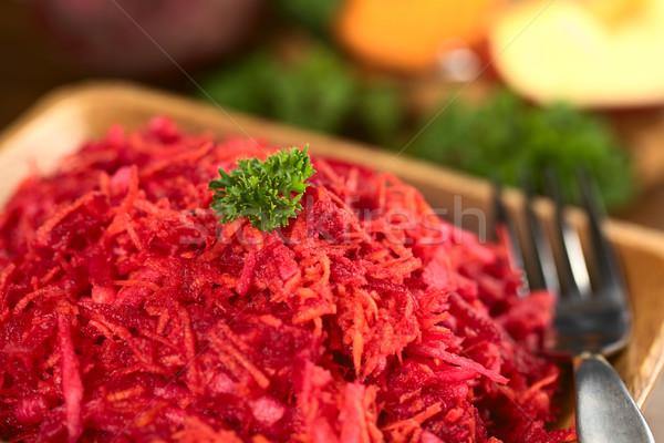 Cékla alma sárgarépa saláta friss petrezselyem Stock fotó © ildi