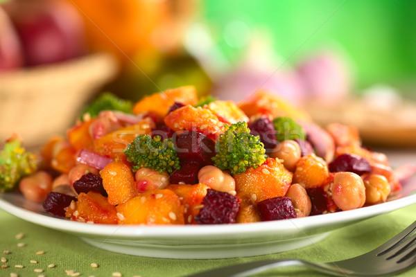 Sütőtök cékla brokkoli saláta szezámmag szelektív fókusz Stock fotó © ildi