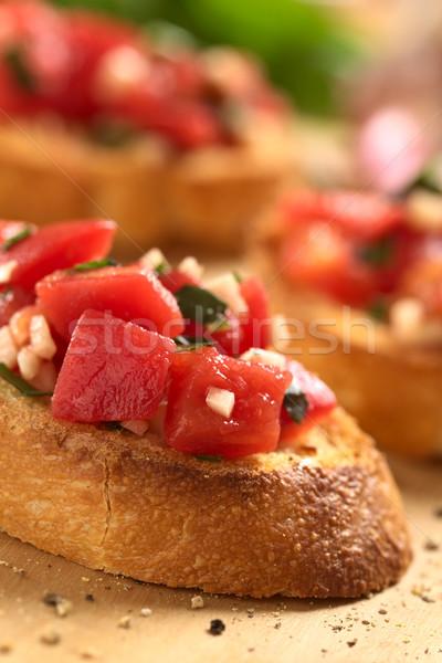 Bruschetta with Tomato, Garlic and Basil Stock photo © ildi