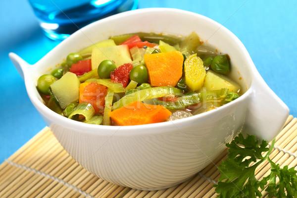 Zupa jarzynowa świeże domowej roboty marchew por ziemniaczanej Zdjęcia stock © ildi