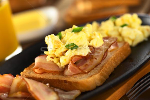 Stock fotó: Szalonna · tojás · pirítós · kenyér · sült · szelektív · fókusz