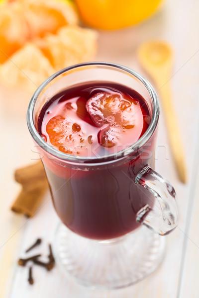 Forró bor mandarin vörösbor felső szegfűszeg Stock fotó © ildi