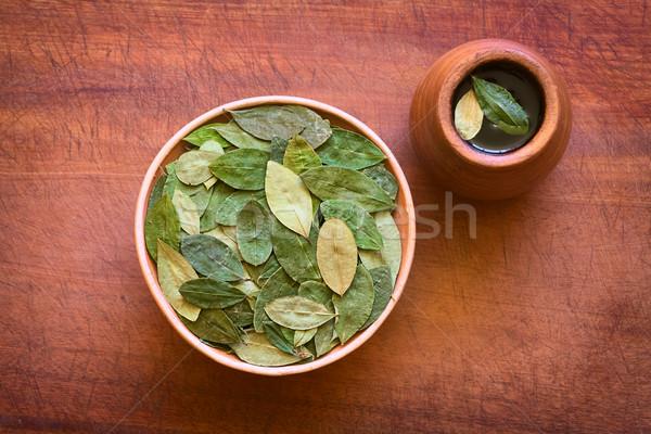 Dried Coca Leaves and Fresh Coca Tea Stock photo © ildi