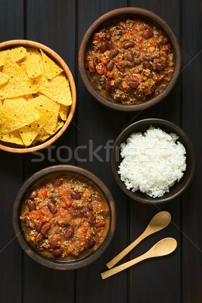 Foto stock: Chile · tiro · dos · bolos · arroz · tortilla