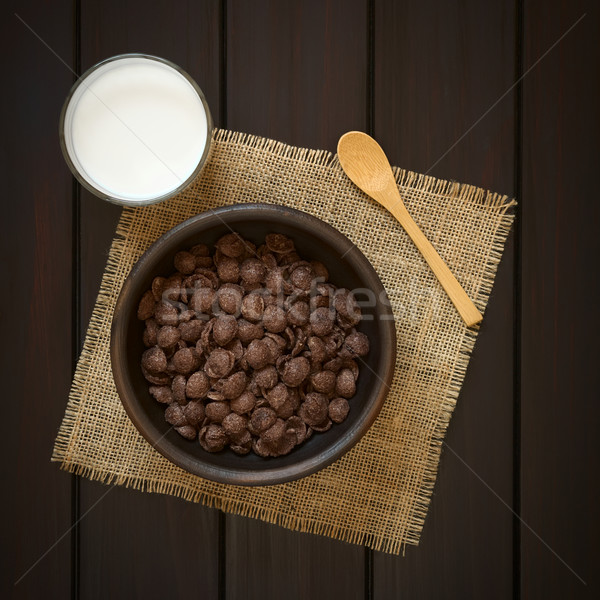 Chocolate Corn Flakes Breakfast Cereal and Milk Stock photo © ildi