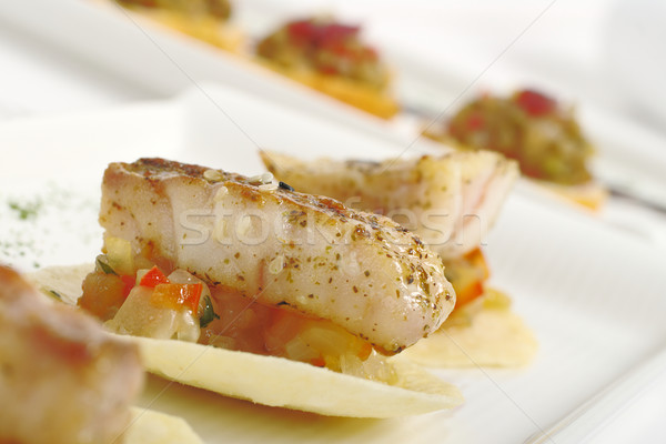 Appetizer: Fish on Chip Stock photo © ildi