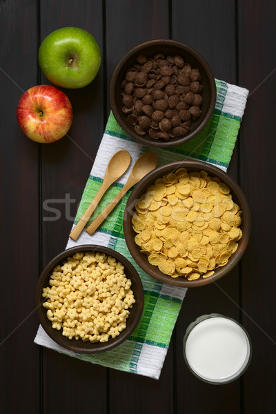 Breakfast Cereals with Milk and Apples Stock photo © ildi