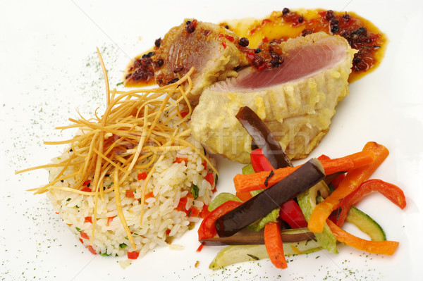 Main Dish: Tuna with Pepper Gravy, Rice and Vegetables  Stock photo © ildi