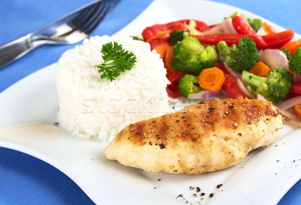Kipfilet groenten rijst borst peper Stockfoto © ildi