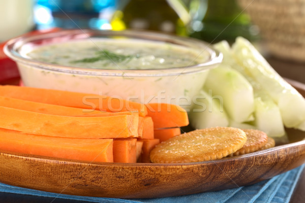 Vegetables and Crackers with Tzatziki Stock photo © ildi