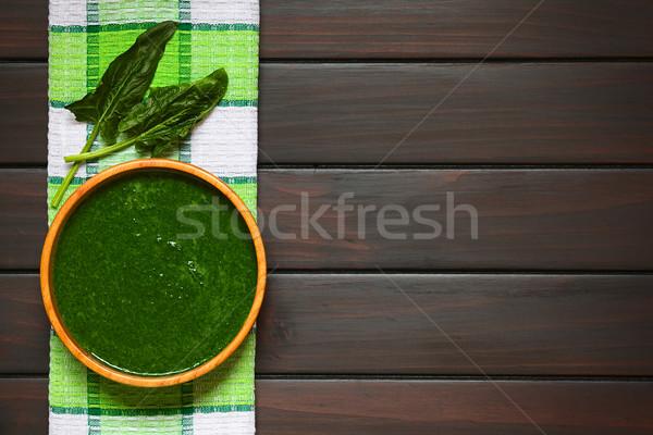 クリーム ほうれん草 スープ 新鮮な 自家製 木製 ストックフォト © ildi