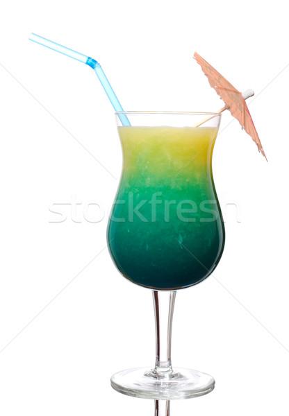 青 オレンジジュース カクテル ガラス 装飾された サンシェード ストックフォト © ildi