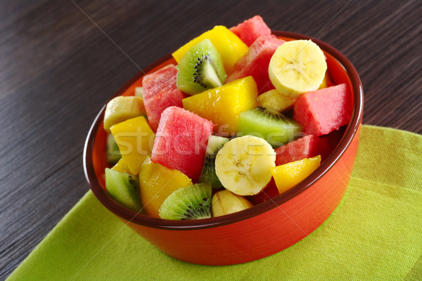 Gyümölcssaláta friss gyümölcs saláta banán kiwi görögdinnye Stock fotó © ildi
