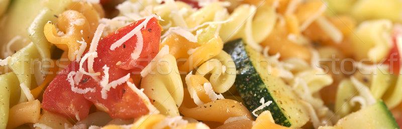 Foto d'archivio: Pomodoro · zucchine · formaggio · colorato · pasta · formaggio · grattugiato