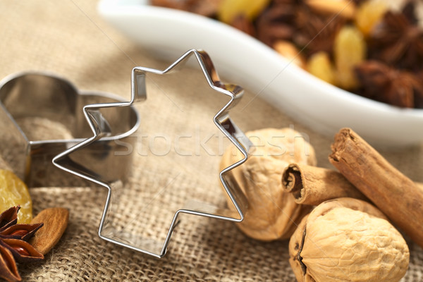 Tree Cookie Cutter with Baking Ingredients Stock photo © ildi