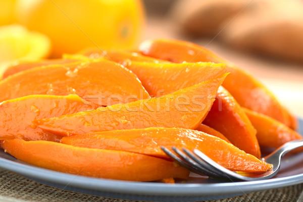 Foto stock: Batata · azúcar · moreno · frescos · jugo · de · naranja · tenedor · placa
