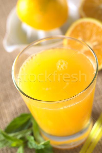 Vers sinaasappelsap vers mint bladeren drinken Stockfoto © ildi