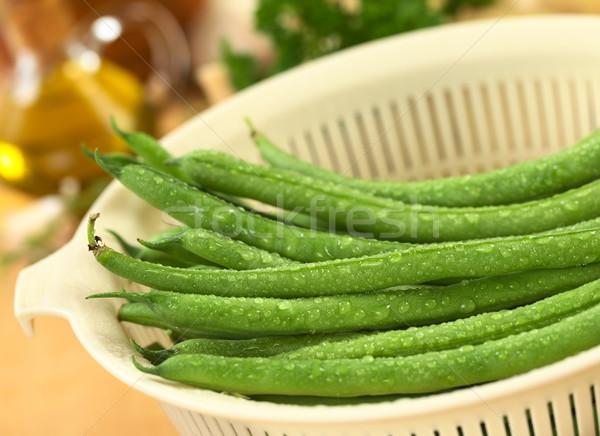 新鮮 綠豆 水 塑料 選擇性的重點 商業照片 © ildi