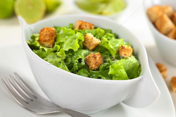 Zöld saláta joghurt öntet kenyér szelektív fókusz Stock fotó © ildi