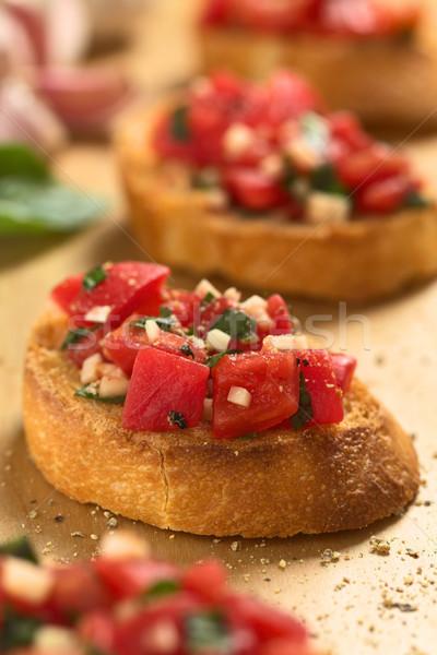 Bruschetta tomaat knoflook basilicum vers eigengemaakt Stockfoto © ildi