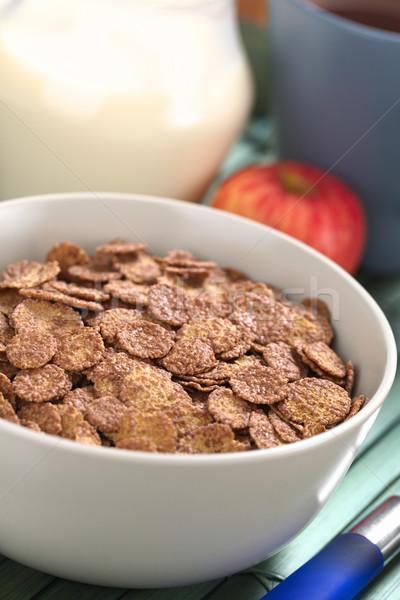 çikolata çanak tahıl elma fincan Stok fotoğraf © ildi