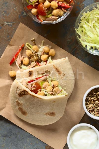 Stockfoto: Gevuld · pita · sandwich · tonijn · sla · peper