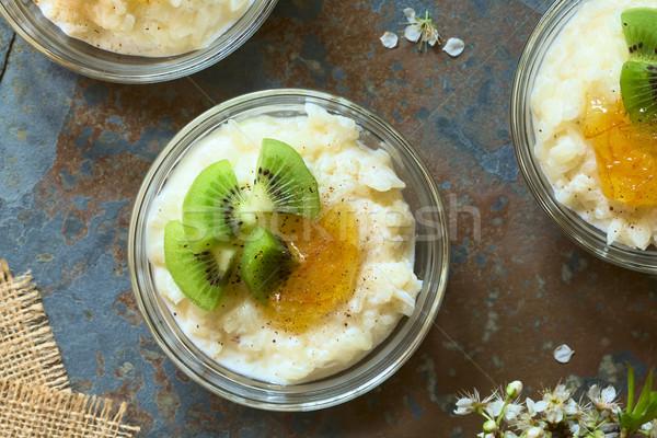 Sütlaç kivi turuncu reçel parçalar tarçın Stok fotoğraf © ildi