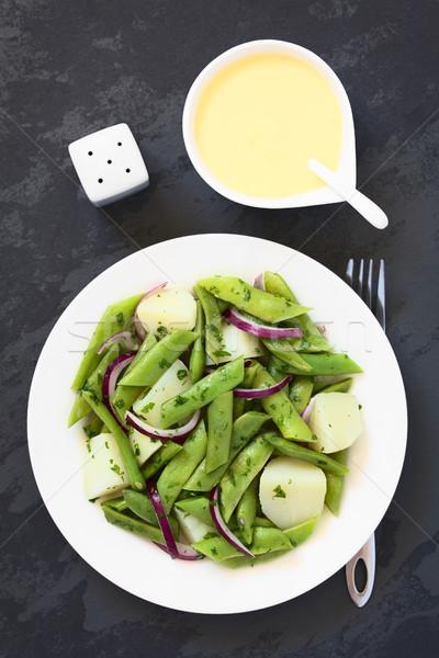 Groene bonen aardappel ui salade peterselie Stockfoto © ildi