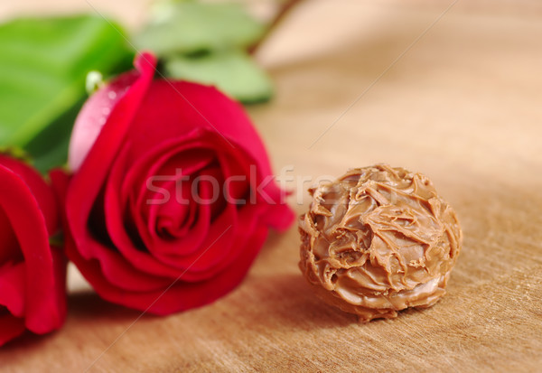 Truffle with Red Rose Stock photo © ildi