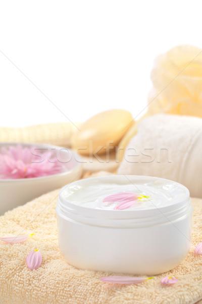 Macio corpo mão rosa pétalas Foto stock © ildi
