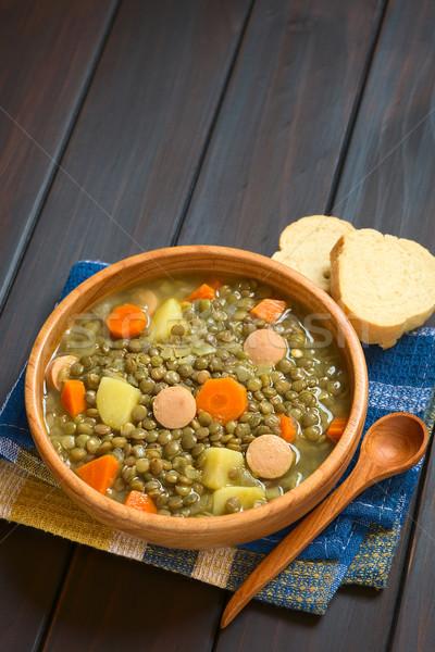Lencse leves fából készült tál krumpli sárgarépa Stock fotó © ildi