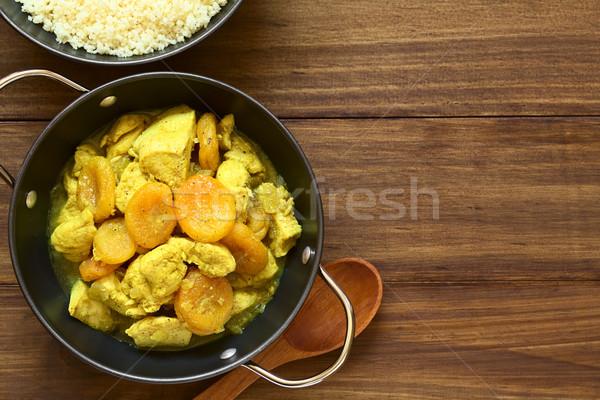 Poulet séché abricot ragoût couscous cannelle Photo stock © ildi