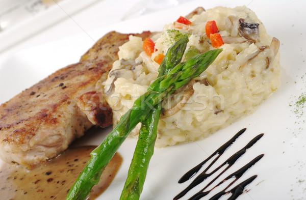 Main Dish: Chop with Rice and Asparagus Stock photo © ildi
