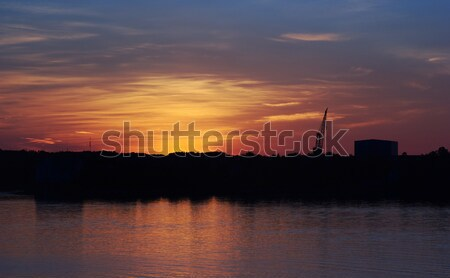 Crane and Industrial Building at Sunset  Stock photo © ildi