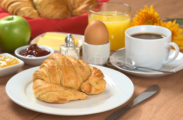 Stock fotó: Finom · reggeli · kontinentális · reggeli · kávé · narancslé · croissant